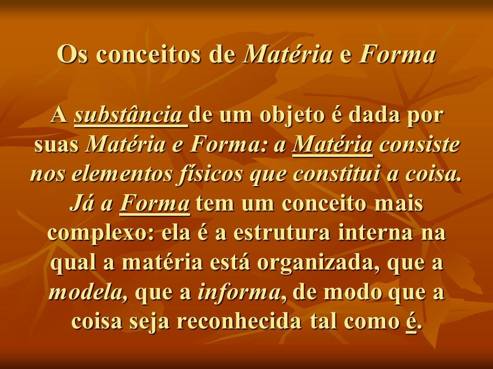 Os conceitos de Matéria e Forma A substância de um objeto é dada por suas Matéria e Forma: a Matéria consiste nos elementos físicos que constitui a co