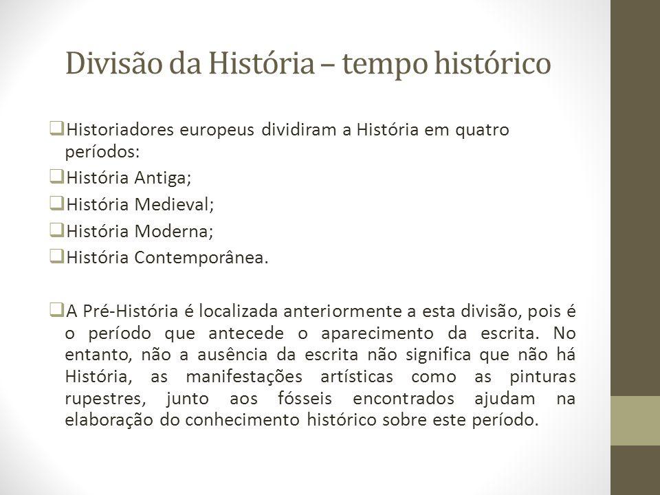 Divisão da História – tempo histórico Historiadores europeus dividiram a História em quatro períodos: História Antiga; História Medieval; História Mod