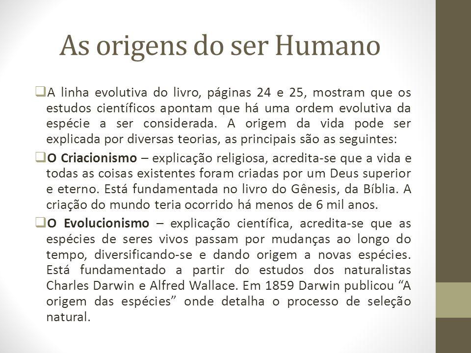 As origens do ser Humano A linha evolutiva do livro, páginas 24 e 25, mostram que os estudos científicos apontam que há uma ordem evolutiva da espécie