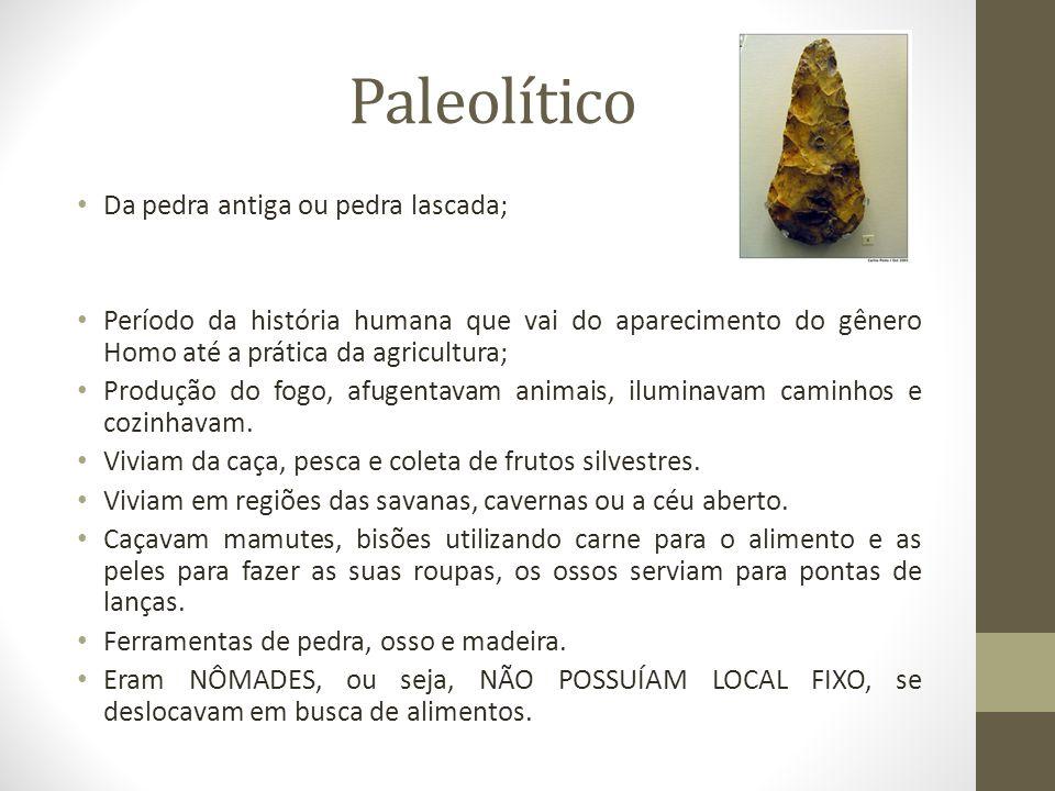 Paleolítico Da pedra antiga ou pedra lascada; Período da história humana que vai do aparecimento do gênero Homo até a prática da agricultura; Produção