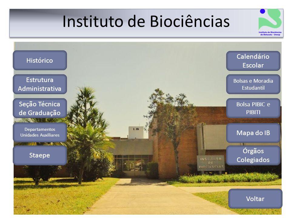 Instituto de Biociências Histórico Estrutura Administrativa Departamentos Unidades Auxiliares Órgãos Colegiados Seção Técnica de Graduação Staepe Volt