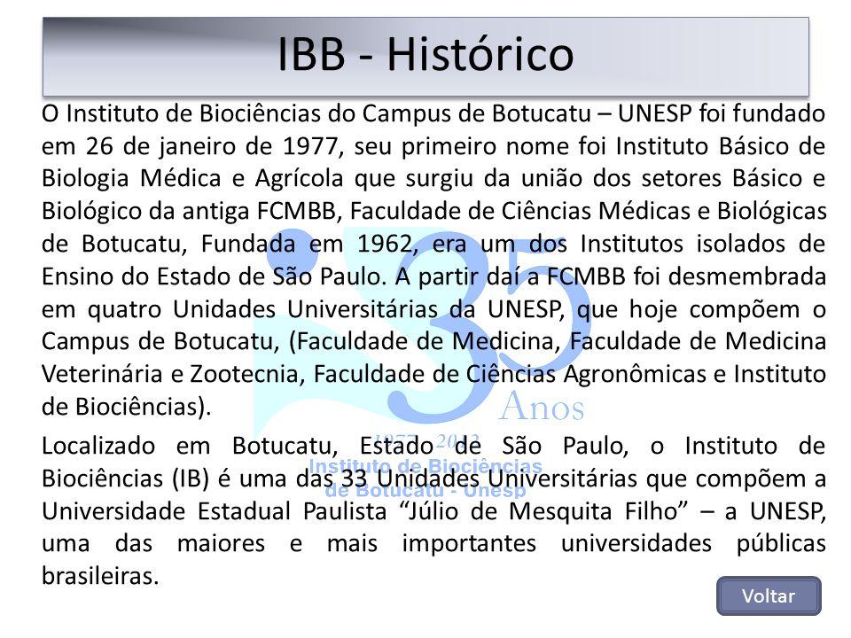 O Instituto de Biociências do Campus de Botucatu – UNESP foi fundado em 26 de janeiro de 1977, seu primeiro nome foi Instituto Básico de Biologia Médi