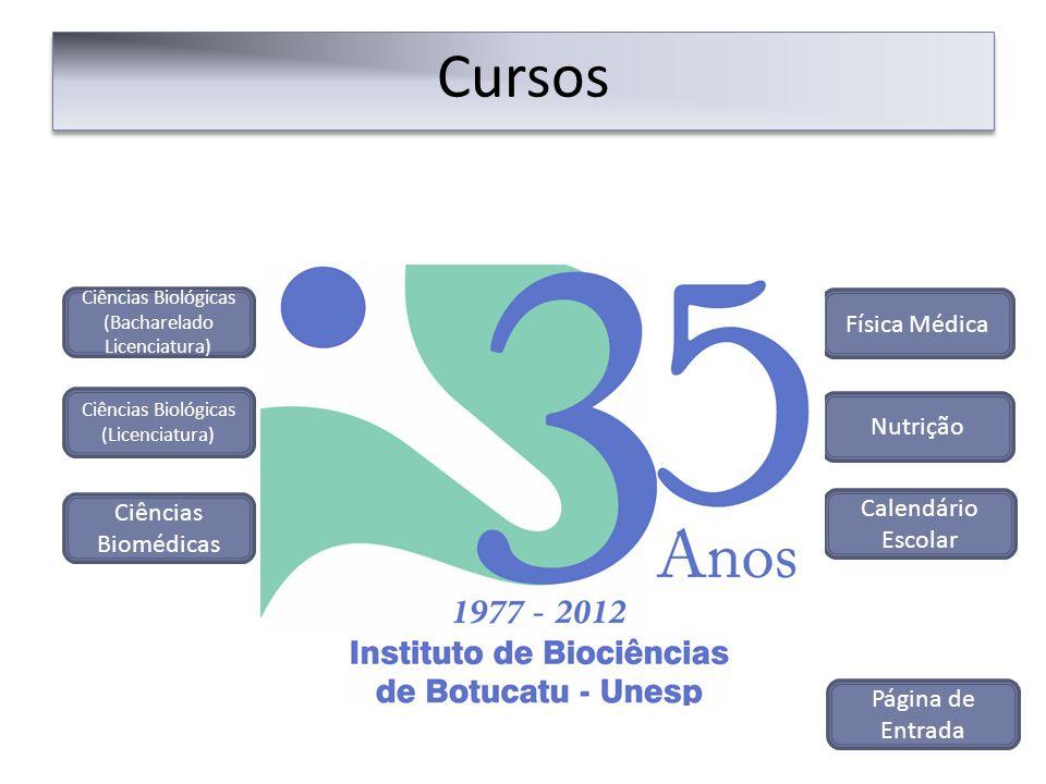 Cursos Nutrição Ciências Biológicas (Bacharelado Licenciatura) Ciências Biológicas (Licenciatura) Ciências Biomédicas Física Médica Página de Entrada