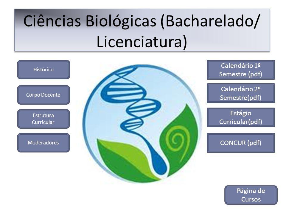 Histórico Ciências Biológicas (Bacharelado/ Licenciatura) Corpo Docente Estrutura Curricular Moderadores CONCUR (pdf) Calendário 1º Semestre (pdf) Cal