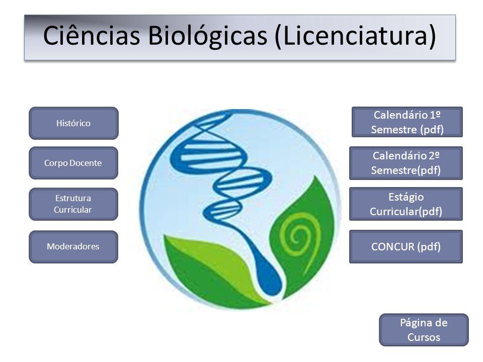 Histórico Ciências Biológicas (Licenciatura) Corpo Docente Estrutura Curricular Moderadores CONCUR (pdf) Calendário 1º Semestre (pdf) Calendário 2º Se
