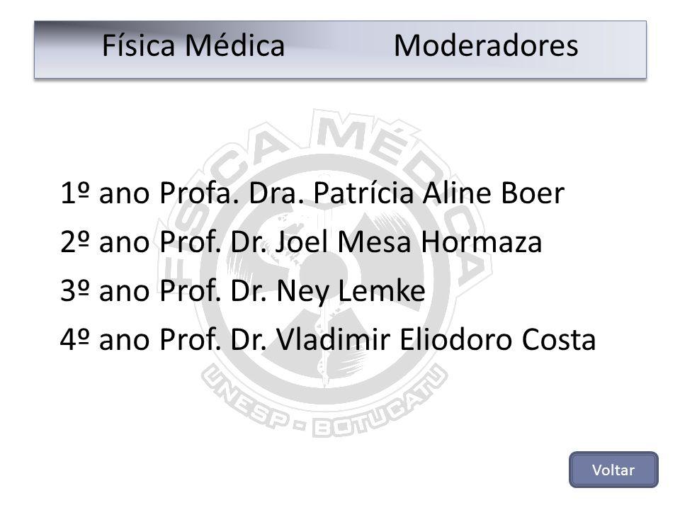 Física Médica Moderadores 1º ano Profa. Dra. Patrícia Aline Boer 2º ano Prof. Dr. Joel Mesa Hormaza 3º ano Prof. Dr. Ney Lemke 4º ano Prof. Dr. Vladim
