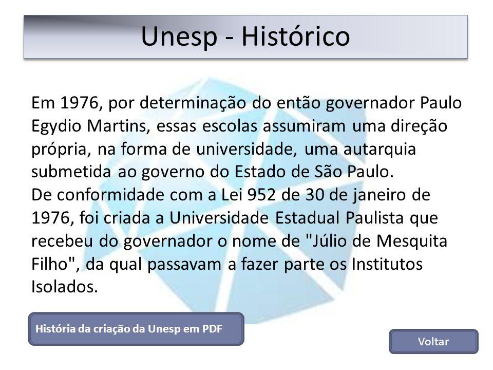 Unesp - Histórico História da criação da Unesp em PDF Voltar Em 1976, por determinação do então governador Paulo Egydio Martins, essas escolas assumir