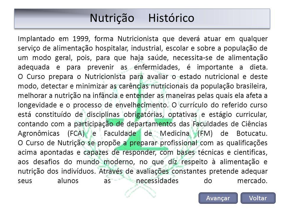 Nutrição Histórico Implantado em 1999, forma Nutricionista que deverá atuar em qualquer serviço de alimentação hospitalar, industrial, escolar e sobre