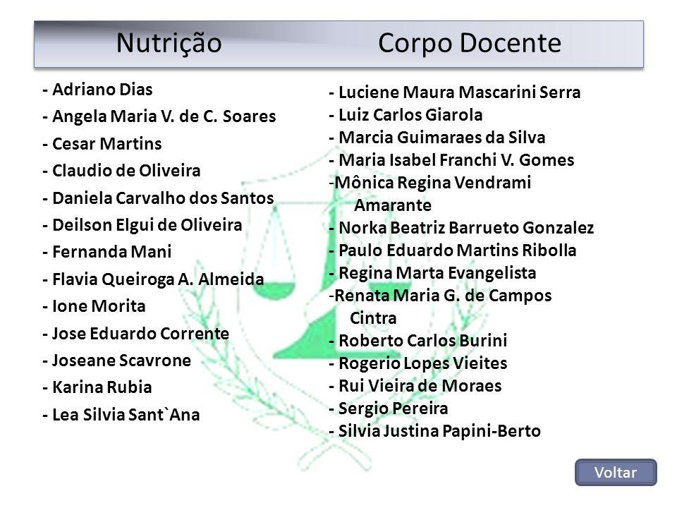 Nutrição Corpo Docente - Adriano Dias - Angela Maria V. de C. Soares - Cesar Martins - Claudio de Oliveira - Daniela Carvalho dos Santos - Deilson Elg