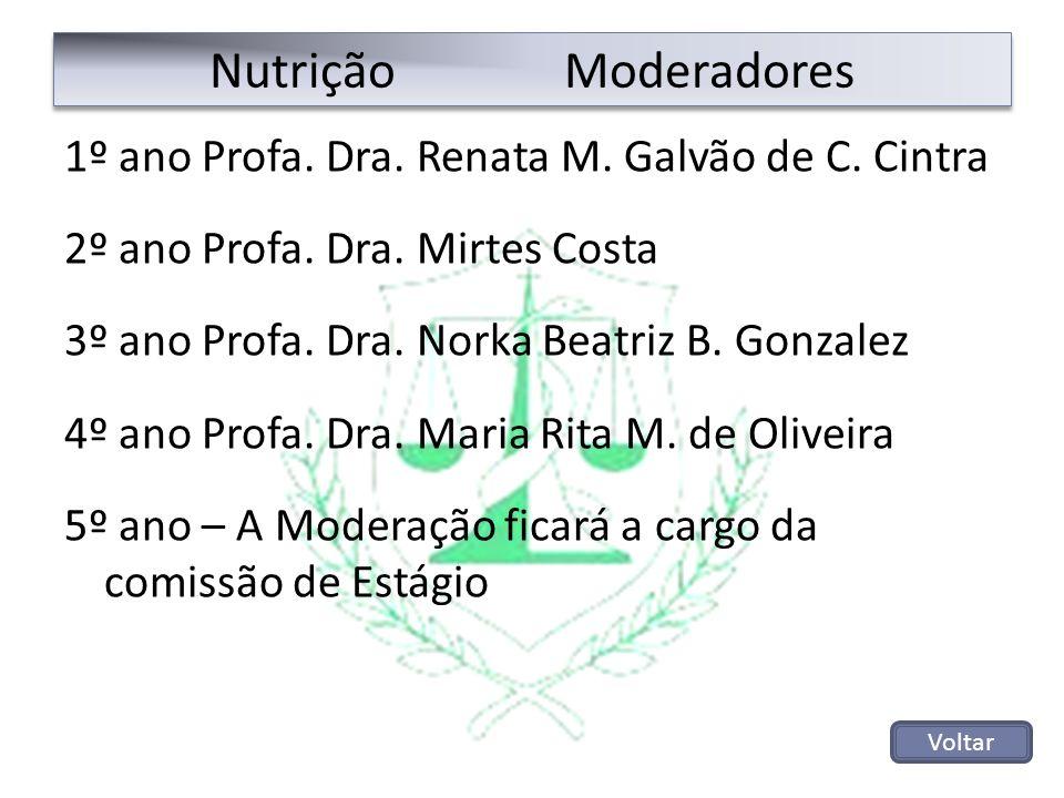 Nutrição Moderadores 1º ano Profa. Dra. Renata M. Galvão de C. Cintra 2º ano Profa. Dra. Mirtes Costa 3º ano Profa. Dra. Norka Beatriz B. Gonzalez 4º