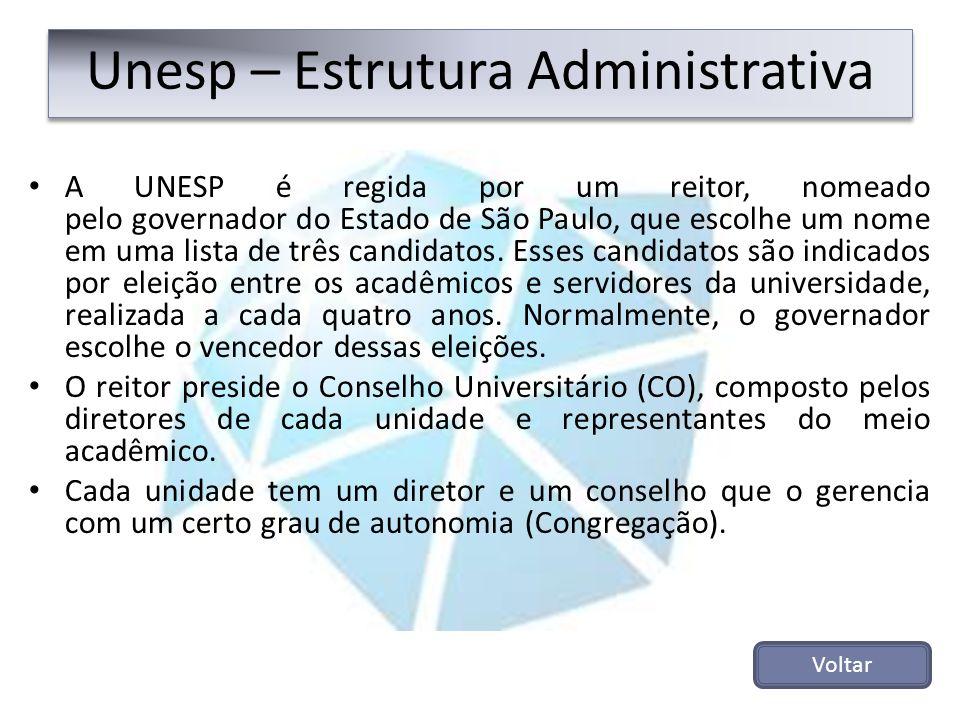 Unesp – Estrutura Administrativa A UNESP é regida por um reitor, nomeado pelo governador do Estado de São Paulo, que escolhe um nome em uma lista de t