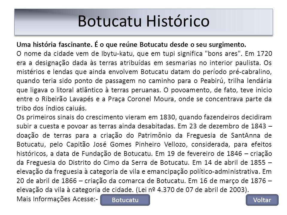 Uma história fascinante. É o que reúne Botucatu desde o seu surgimento. O nome da cidade vem de Ibytu-katu, que em tupi significa