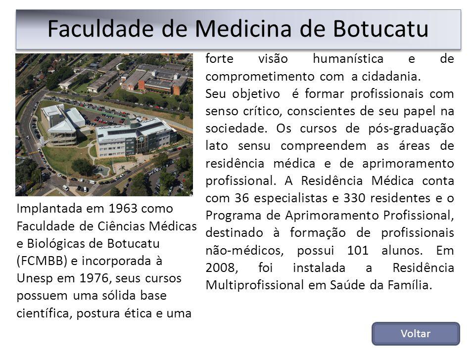 Faculdade de Medicina de Botucatu forte visão humanística e de comprometimento com a cidadania. Seu objetivo é formar profissionais com senso crítico,