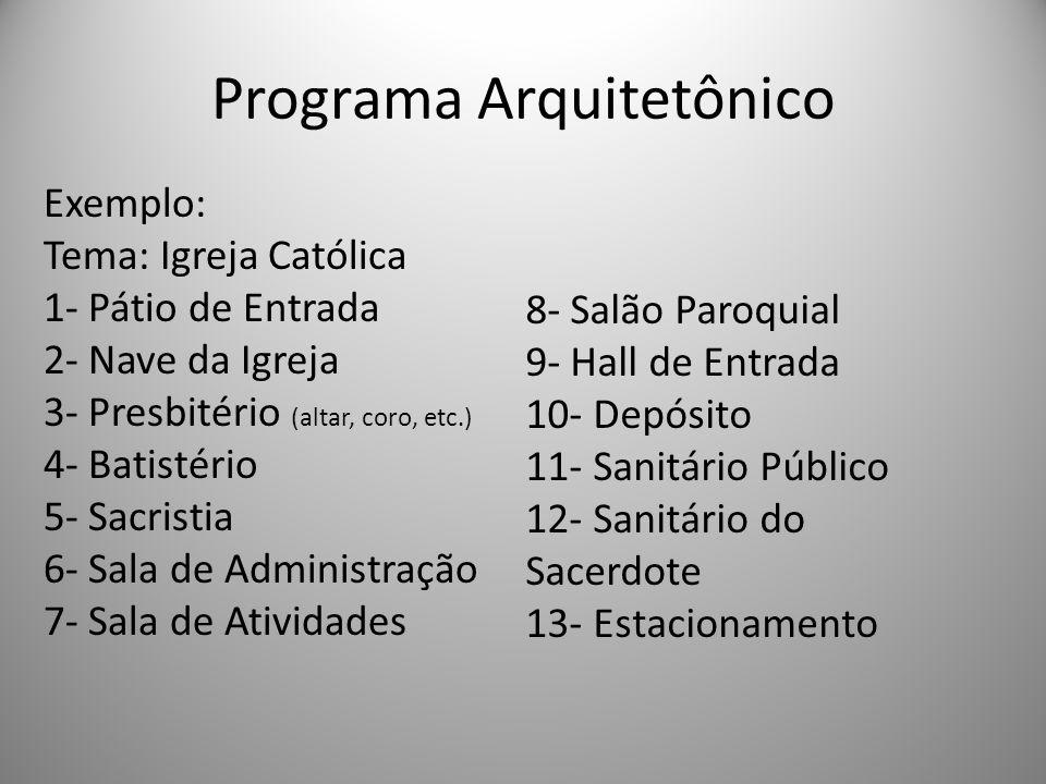 Programa Arquitetônico Exemplo: Tema: Igreja Católica 1- Pátio de Entrada 2- Nave da Igreja 3- Presbitério (altar, coro, etc.) 4- Batistério 5- Sacris