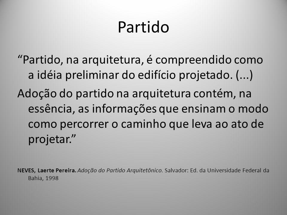 Partido Partido, na arquitetura, é compreendido como a idéia preliminar do edifício projetado. (...) Adoção do partido na arquitetura contém, na essên