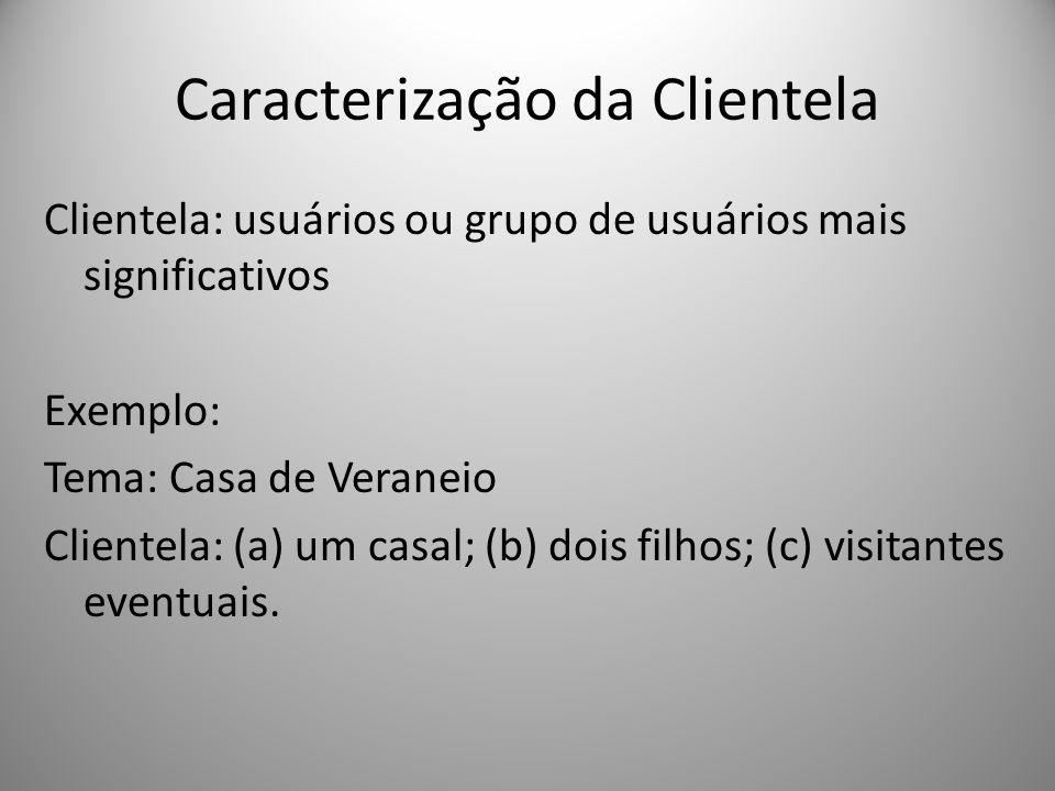 Caracterização da Clientela Clientela: usuários ou grupo de usuários mais significativos Exemplo: Tema: Casa de Veraneio Clientela: (a) um casal; (b)