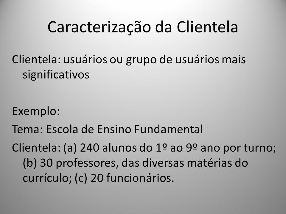 Caracterização da Clientela Clientela: usuários ou grupo de usuários mais significativos Exemplo: Tema: Escola de Ensino Fundamental Clientela: (a) 24