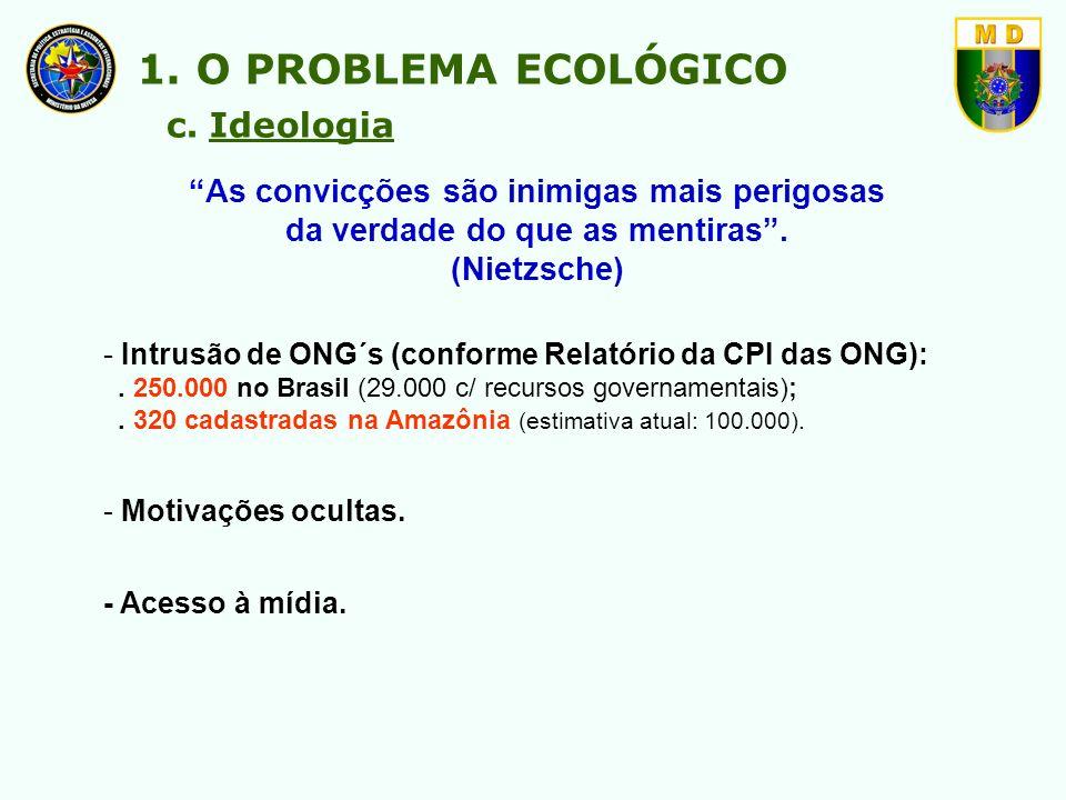 - Intrusão de ONG´s (conforme Relatório da CPI das ONG):. 250.000 no Brasil (29.000 c/ recursos governamentais);. 320 cadastradas na Amazônia (estimat