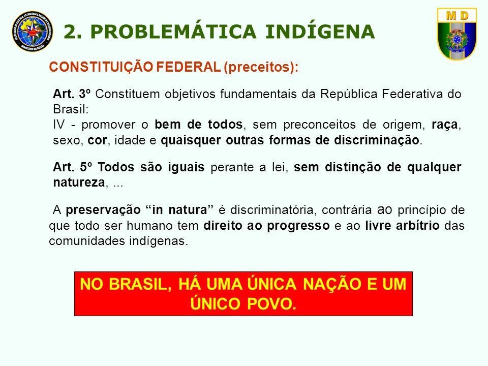 NO BRASIL, HÁ UMA ÚNICA NAÇÃO E UM ÚNICO POVO. CONSTITUIÇÃO FEDERAL (preceitos): Art. 3º Constituem objetivos fundamentais da República Federativa do