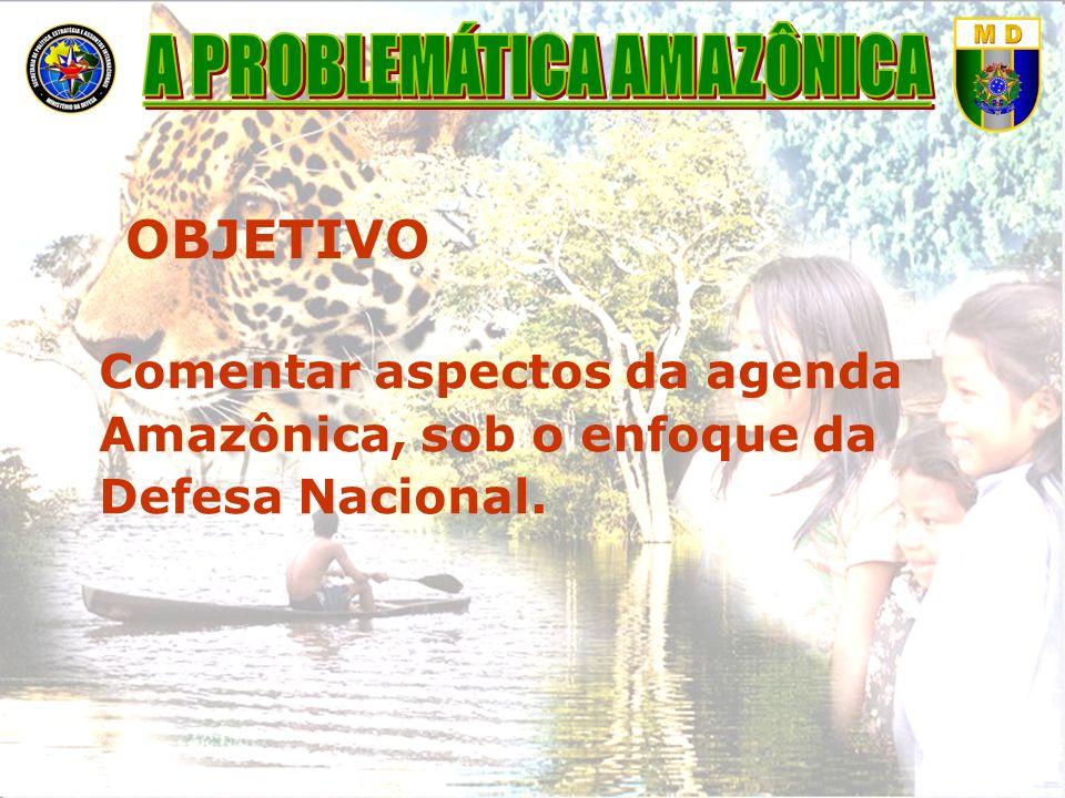 OBJETIVO Comentar aspectos da agenda Amazônica, sob o enfoque da Defesa Nacional.