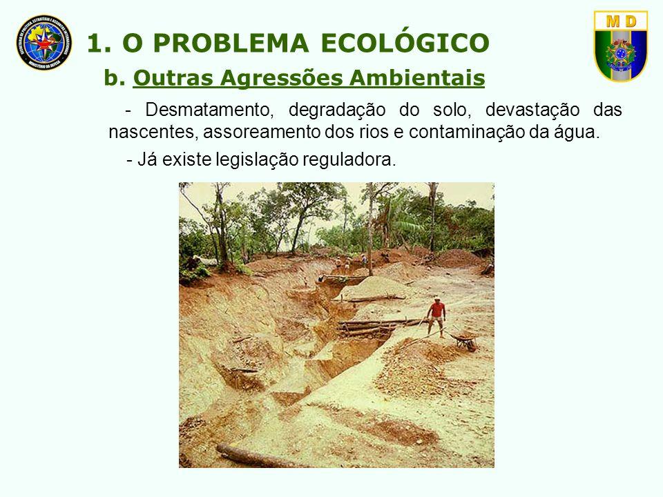 - Desmatamento, degradação do solo, devastação das nascentes, assoreamento dos rios e contaminação da água. 1. O PROBLEMA ECOLÓGICO b. Outras Agressõe