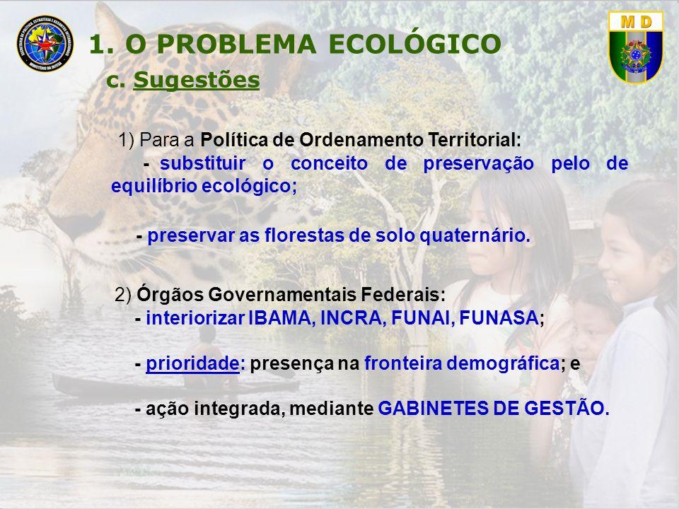 1) Para a Política de Ordenamento Territorial: - substituir o conceito de preservação pelo de equilíbrio ecológico; - preservar as florestas de solo q