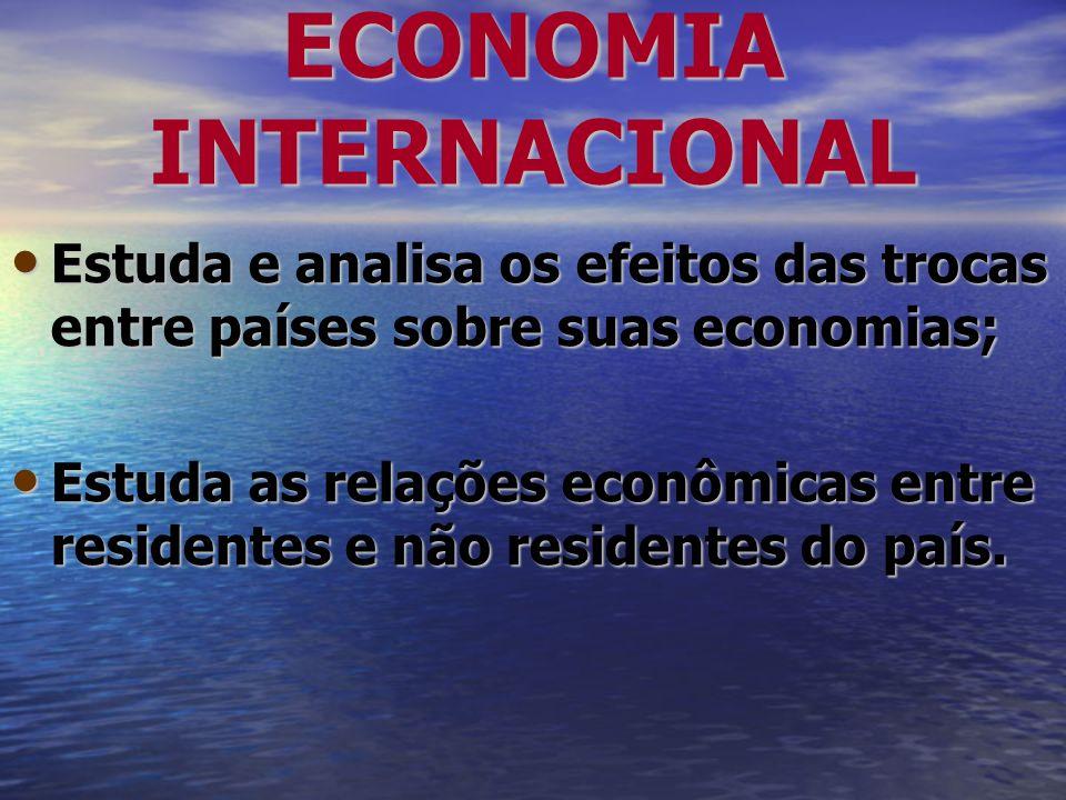 ECONOMIA INTERNACIONAL Estuda e analisa os efeitos das trocas entre países sobre suas economias; Estuda e analisa os efeitos das trocas entre países s