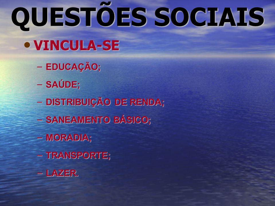 QUESTÕES SOCIAIS VINCULA-SE VINCULA-SE – EDUCAÇÃO; – SAÚDE; – DISTRIBUIÇÃO DE RENDA; – SANEAMENTO BÁSICO; – MORADIA; – TRANSPORTE; – LAZER.