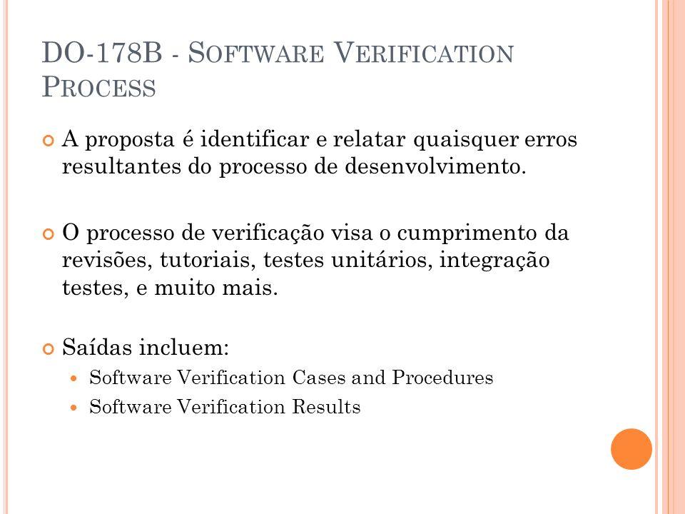 DO-178B - S OFTWARE V ERIFICATION P ROCESS A proposta é identificar e relatar quaisquer erros resultantes do processo de desenvolvimento. O processo d