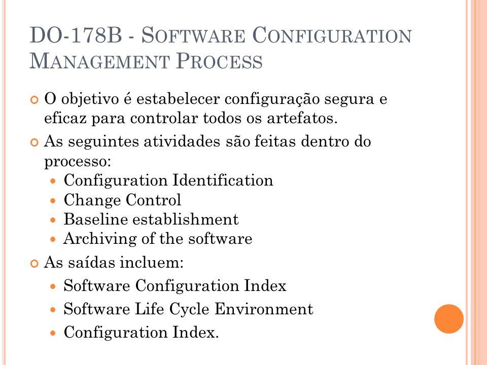 DO-178B - S OFTWARE C ONFIGURATION M ANAGEMENT P ROCESS O objetivo é estabelecer configuração segura e eficaz para controlar todos os artefatos. As se
