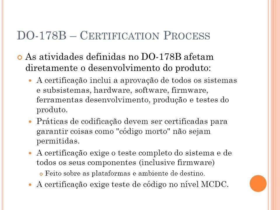 DO-178B – C ERTIFICATION P ROCESS As atividades definidas no DO-178B afetam diretamente o desenvolvimento do produto: A certificação inclui a aprovaçã