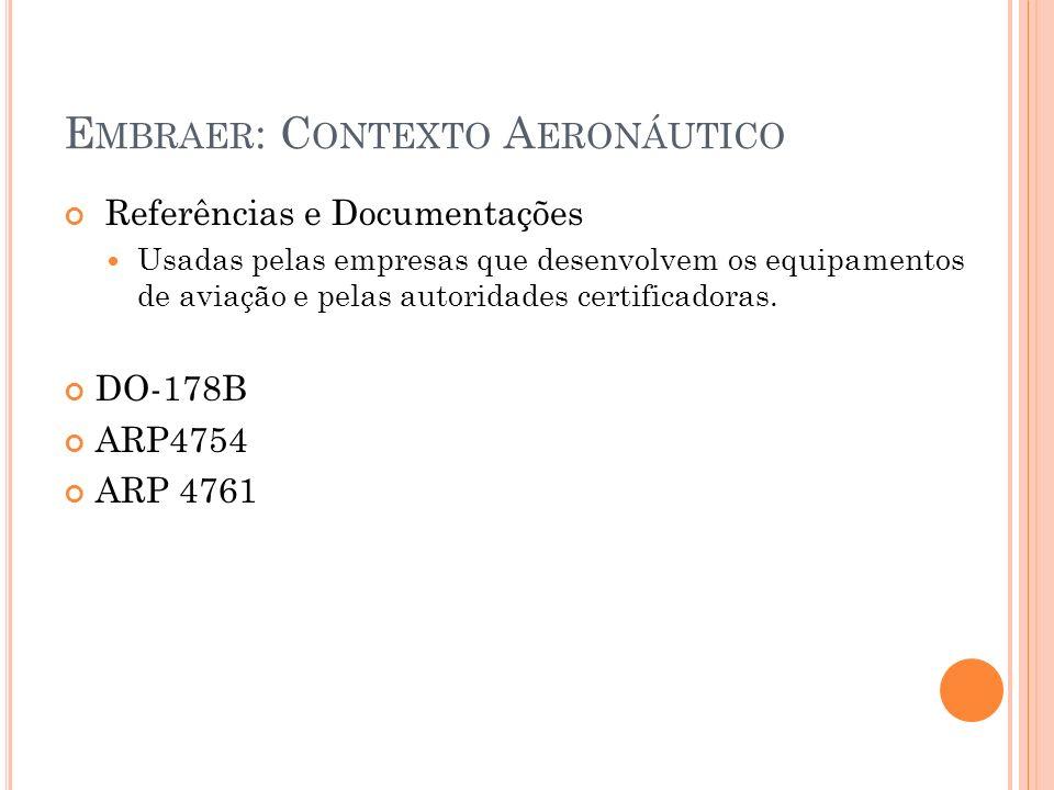 E MBRAER : C ONTEXTO A ERONÁUTICO Referências e Documentações Usadas pelas empresas que desenvolvem os equipamentos de aviação e pelas autoridades cer