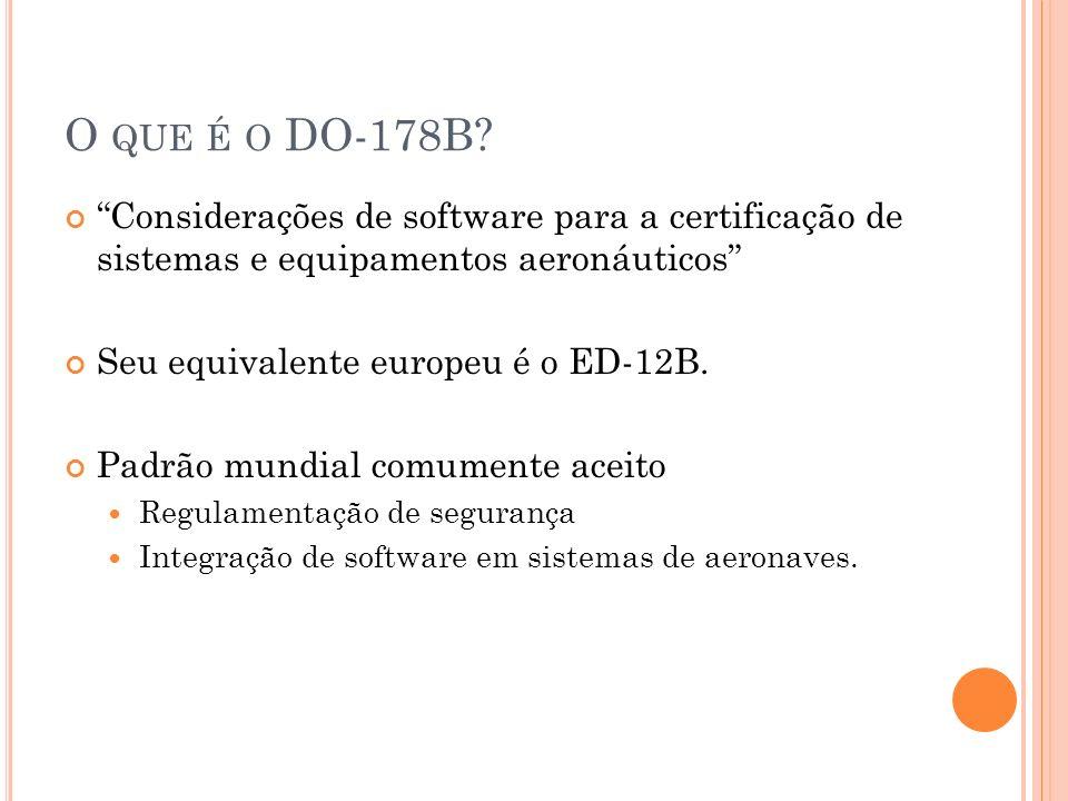 O QUE É O DO-178B? Considerações de software para a certificação de sistemas e equipamentos aeronáuticos Seu equivalente europeu é o ED-12B. Padrão mu