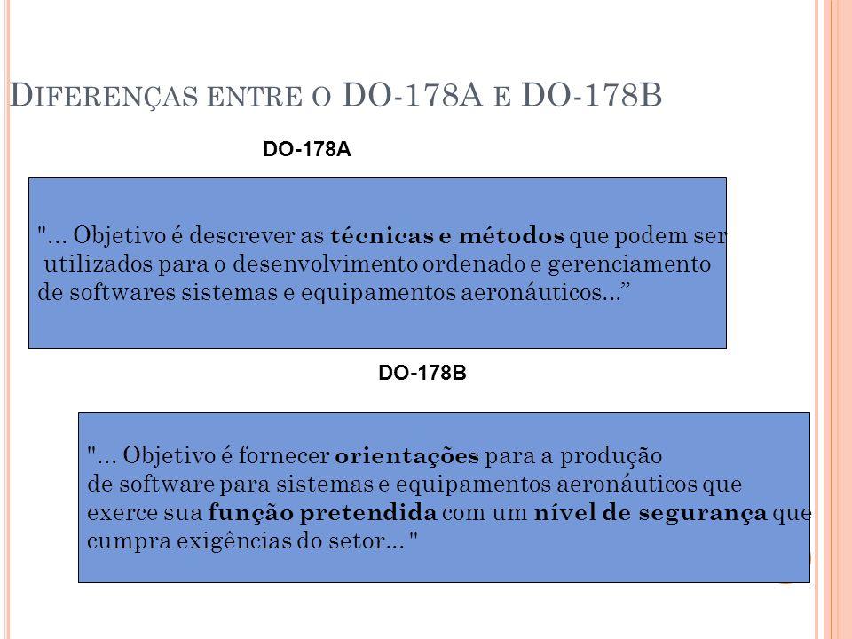 D IFERENÇAS ENTRE O DO-178A E DO-178B