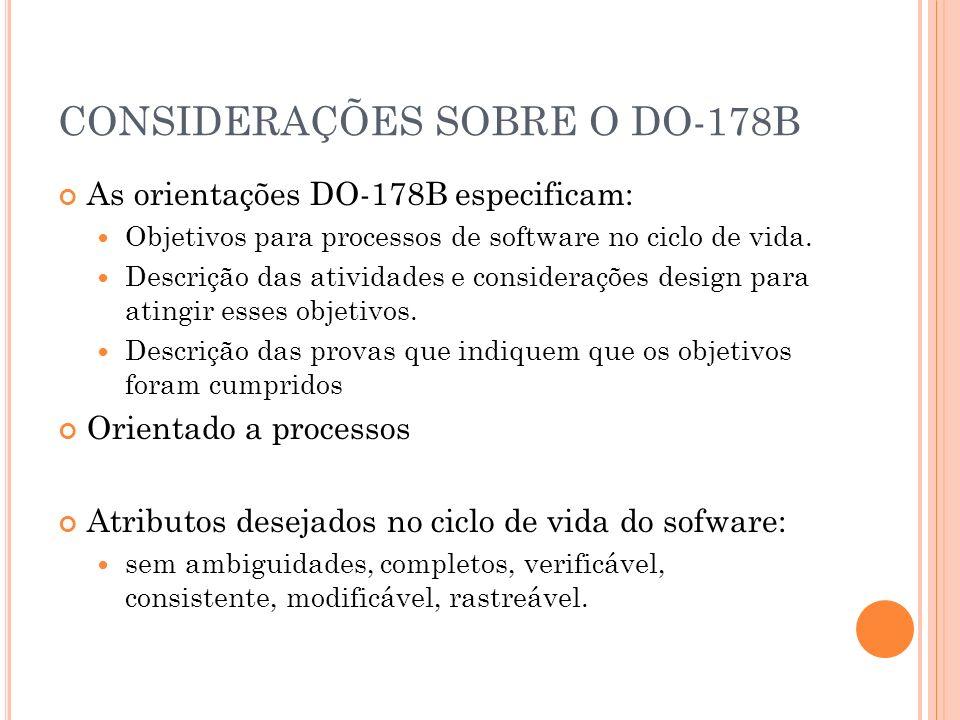 CONSIDERAÇÕES SOBRE O DO-178B As orientações DO-178B especificam: Objetivos para processos de software no ciclo de vida. Descrição das atividades e co