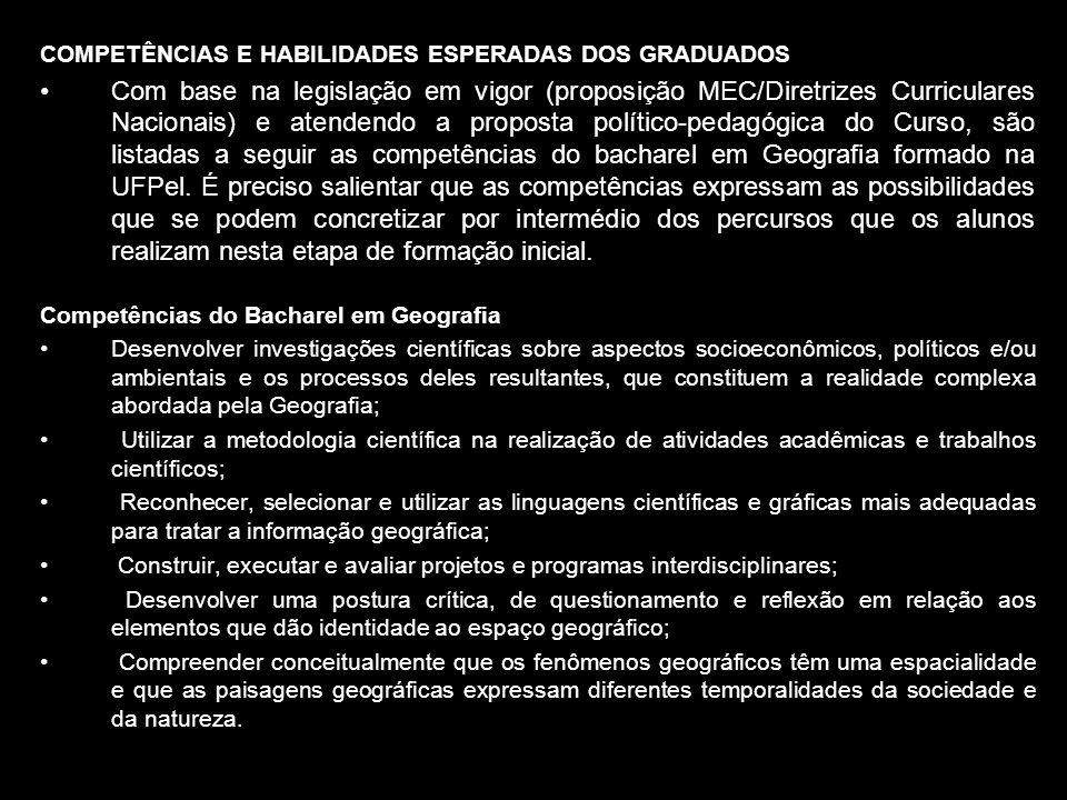 COMPETÊNCIAS E HABILIDADES ESPERADAS DOS GRADUADOS Com base na legislação em vigor (proposição MEC/Diretrizes Curriculares Nacionais) e atendendo a pr