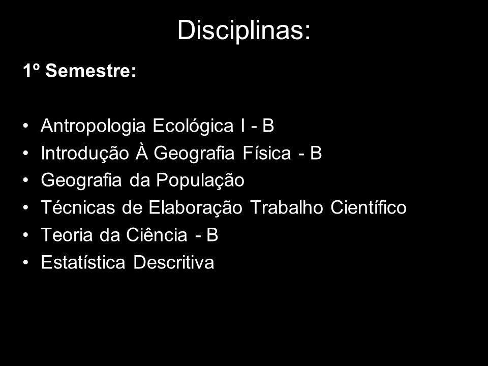Disciplinas: 1º Semestre: Antropologia Ecológica I - B Introdução À Geografia Física - B Geografia da População Técnicas de Elaboração Trabalho Cientí