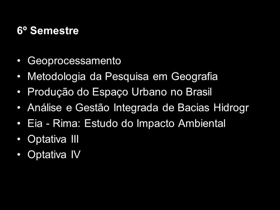 6º Semestre Geoprocessamento Metodologia da Pesquisa em Geografia Produção do Espaço Urbano no Brasil Análise e Gestão Integrada de Bacias Hidrogr Eia