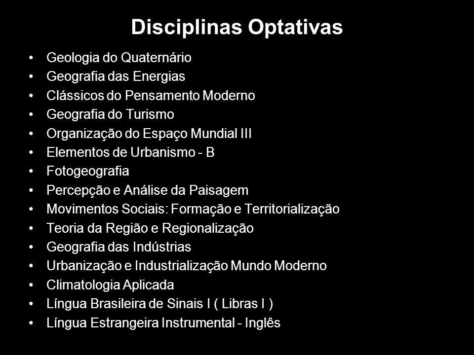 Disciplinas Optativas Geologia do Quaternário Geografia das Energias Clássicos do Pensamento Moderno Geografia do Turismo Organização do Espaço Mundia