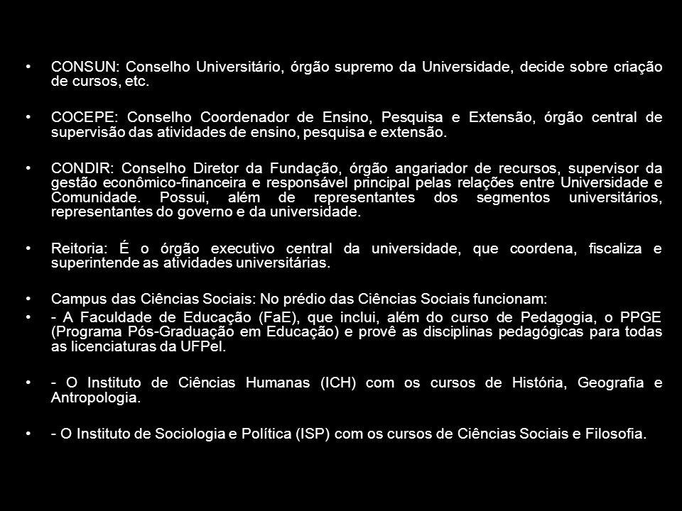 CONSUN: Conselho Universitário, órgão supremo da Universidade, decide sobre criação de cursos, etc. COCEPE: Conselho Coordenador de Ensino, Pesquisa e