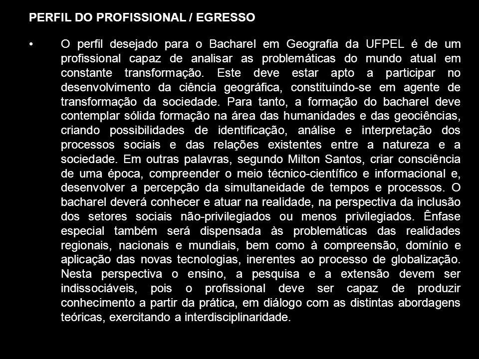 PERFIL DO PROFISSIONAL / EGRESSO O perfil desejado para o Bacharel em Geografia da UFPEL é de um profissional capaz de analisar as problemáticas do mu