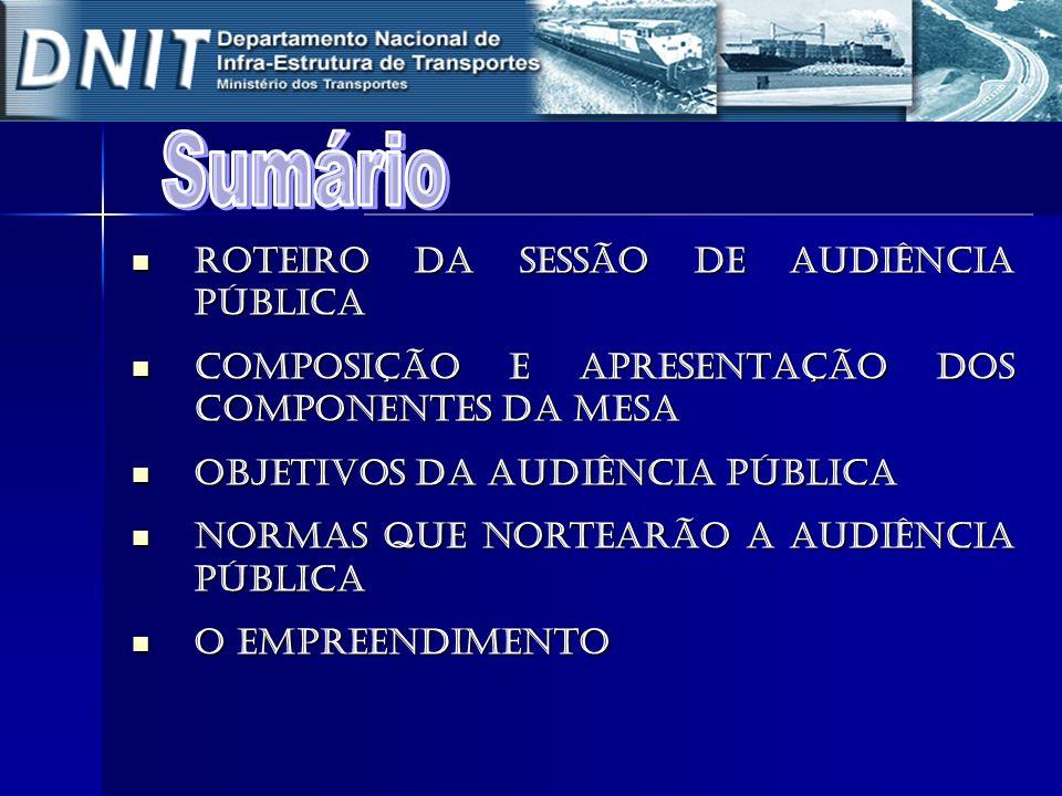 Roteiro da Sessão de Audiência Pública Roteiro da Sessão de Audiência Pública COMPOSIÇÃO E APRESENTAÇÃO DOS COMPONENTES DA MESA COMPOSIÇÃO E APRESENTA