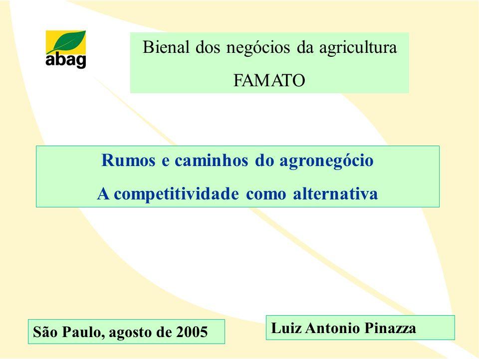 Rumos e caminhos do agronegócio A competitividade como alternativa São Paulo, agosto de 2005 Bienal dos negócios da agricultura FAMATO Luiz Antonio Pi