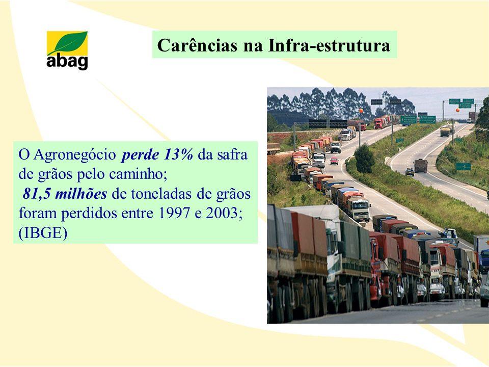 O Agronegócio perde 13% da safra de grãos pelo caminho; 81,5 milhões de toneladas de grãos foram perdidos entre 1997 e 2003; (IBGE) Carências na Infra