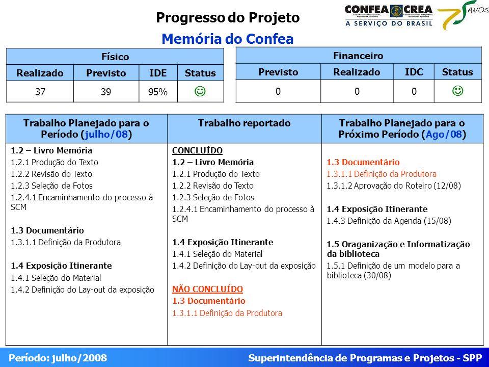 Superintendência de Programas e Projetos - SPP Período: julho/2008 Progresso do Projeto Memória do Confea Físico RealizadoPrevistoIDEStatus 373995% Tr