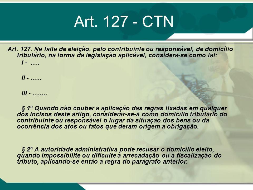 Art. 127 - CTN Art. 127. Na falta de eleição, pelo contribuinte ou responsável, de domicílio tributário, na forma da legislação aplicável, considera-s