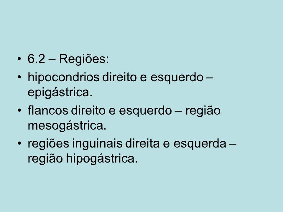 6.2 – Regiões: hipocondrios direito e esquerdo – epigástrica. flancos direito e esquerdo – região mesogástrica. regiões inguinais direita e esquerda –