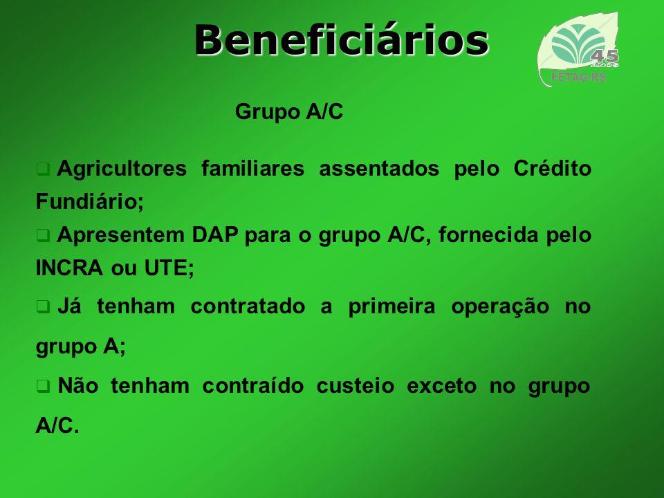 Valor financiadoEncargos Até R$ 5.000,001,5% ao ano De R$ 5.000,00 a R$ 10.000,00 3% ao ano De R$ 10.000,00 a R$ 20.000,00 4,5% ao ano De R$ 20.000,00 a R$ 30.000,00 5,5% ao ano Créditos de Custeio Agricultor familiar
