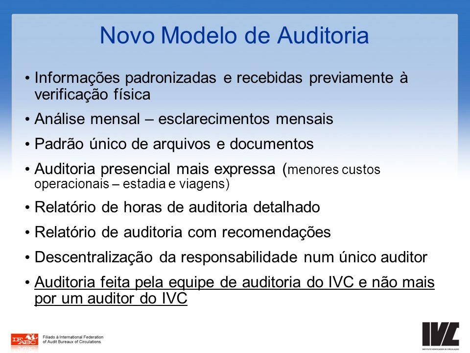 Novo Modelo de Auditoria Informações padronizadas e recebidas previamente à verificação física Análise mensal – esclarecimentos mensais Padrão único d