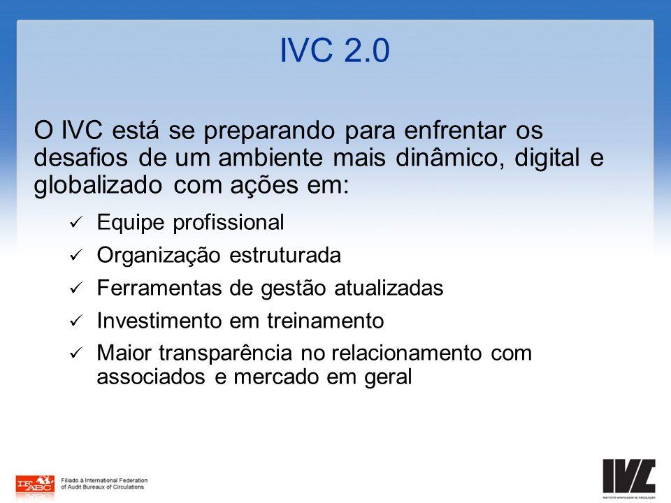 IVC 2.0 O IVC está se preparando para enfrentar os desafios de um ambiente mais dinâmico, digital e globalizado com ações em: Equipe profissional Orga